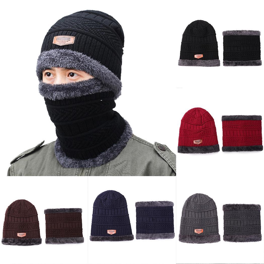 Woman Knitted Hat and Scarf Set for Winter Outdoor Cycling Girls Hat Cap  Scarf  ec41cffbf018