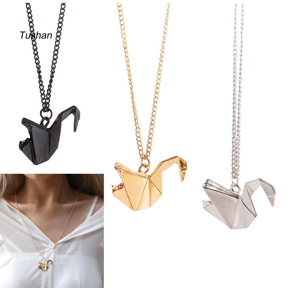Crane Necklace Gold | Origami Jewellery | Wolf & Badger | 1001x1001
