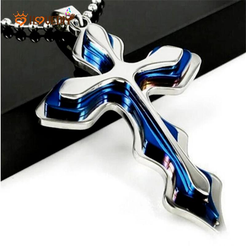Men Women Silver Gold Cross Pendant Necklace Steel gold Unisex/'s Chain Crucifix