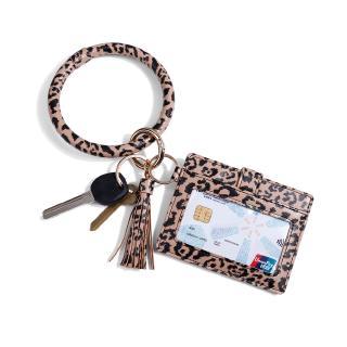 PU Leather O Key Chain Circle Cute Tassel Wristlet Keychain Key Ring Bangle