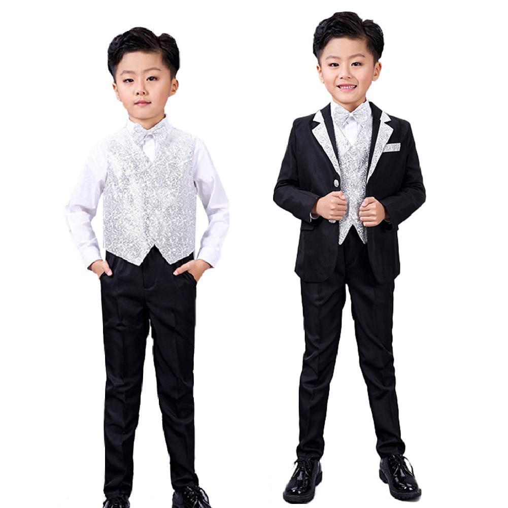 337d5f4f3205 5pcs Black Boys Tuxedo Suit Set Formal Wedding Party Dress