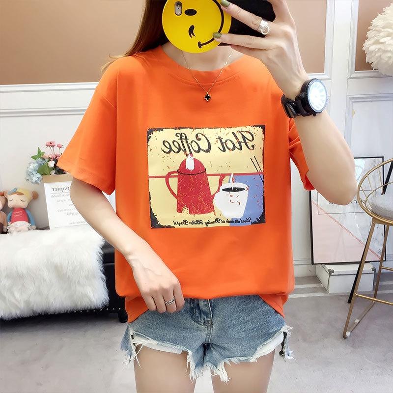 0e685a32cb Cartoon shirt round neck new short-sleeved T-shirt female | Shopee  Philippines