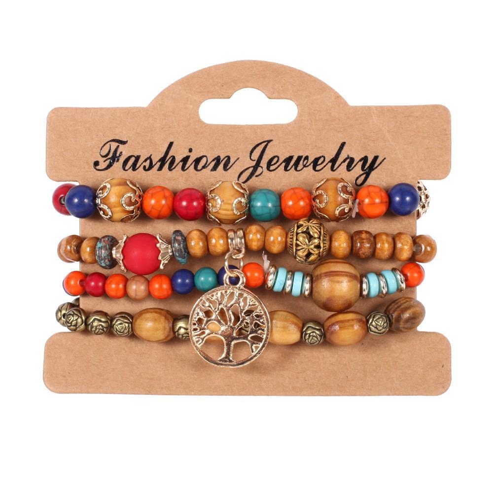 3-12PCS Tree of life Hemp Cords Wood Beads Ethnic Tribal Bracelets for Men Women