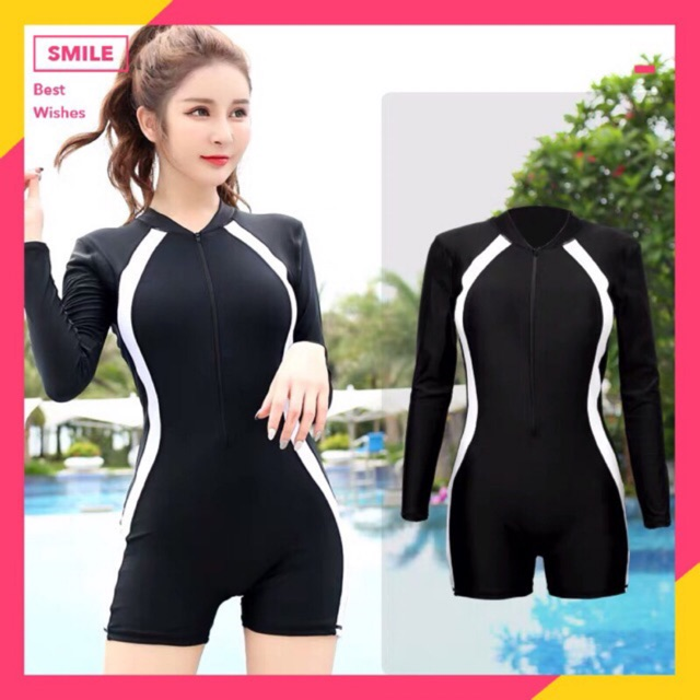 Short Style Rashguard women One piece swimsuit Rash guard | Shopee  Philippines
