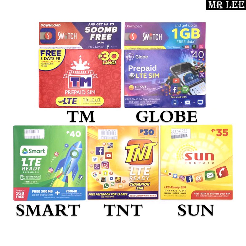 Globe Tnt Smart Tm Sun Sim Card Lte 3g 4g Phone Sim Shopee Philippines