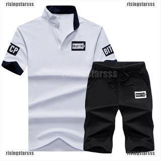 pick up sale best price RSPH belle 2pcs Men Tracksuit V Neck T Shirt Suit Men Polo Shirt ...