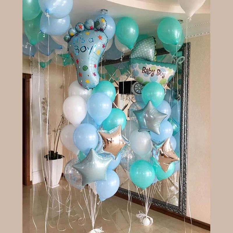 Baby Boy 1st Birthday Decoration Newborn Boy Birthday Party Baptism Christening Decorated Helium Balloons Shopee Philippines
