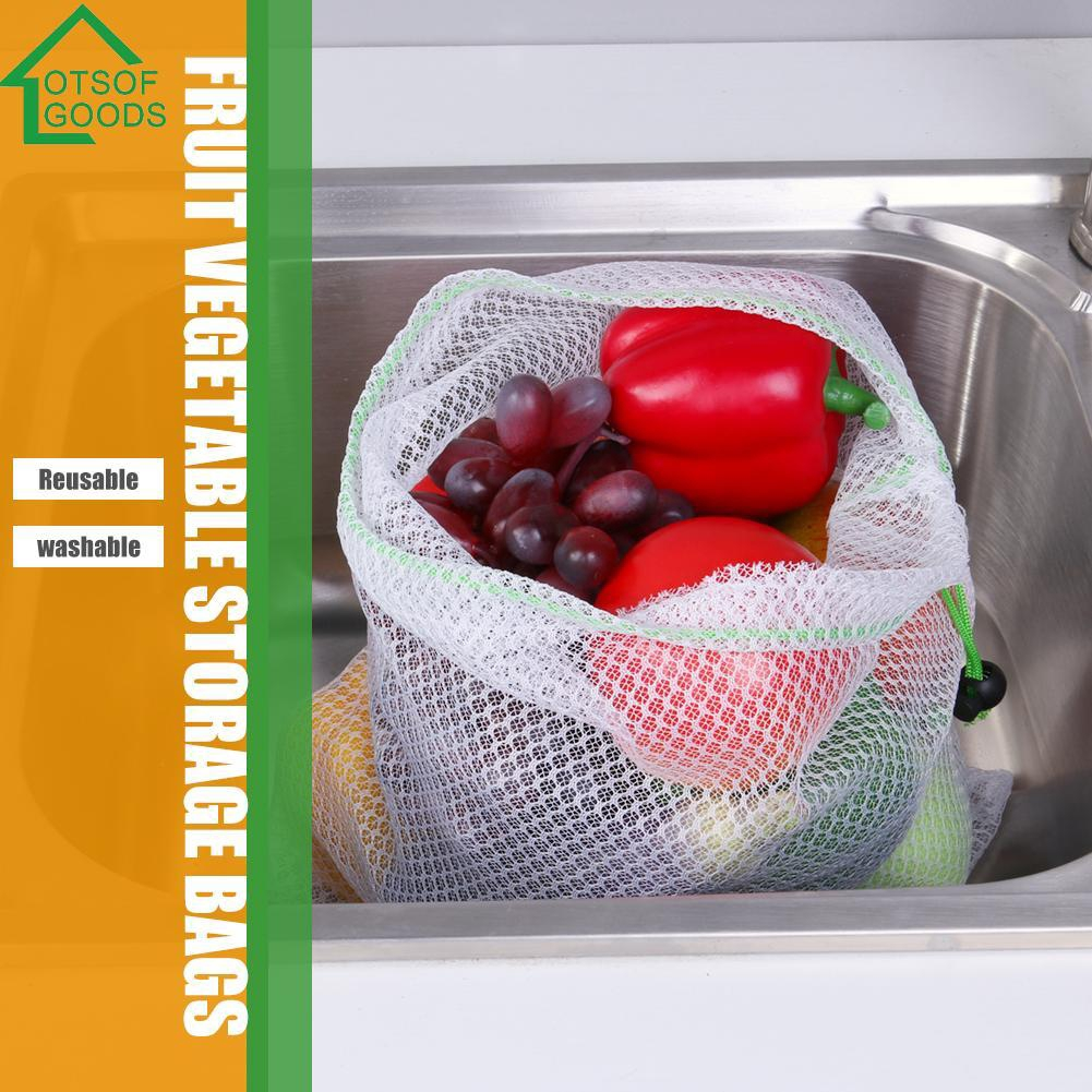 cbaa5f1c39f7 【lotsofgoods】 Reusable Mesh Produce Bags Grocery Fruit Vegetable Sundries  Storage Pouch