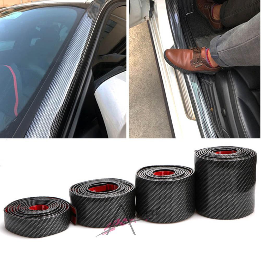 4x Auto Car Decor Strips Carbon Fiber Anti-rub Protector Bars Body Corner Guard