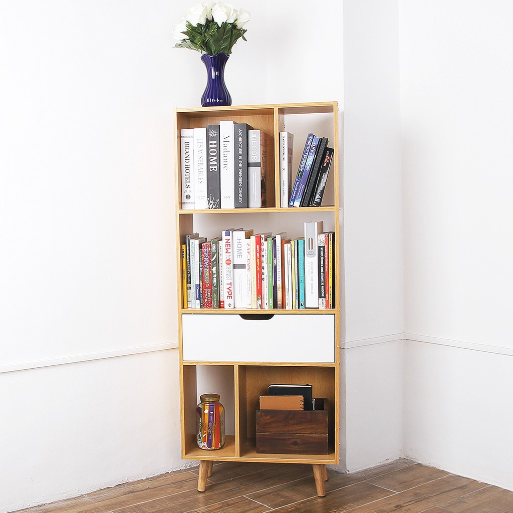 Belowsrp Greenvale Book Shelf L77 With 5 Cubes And 1 Drawer Diy Book Case Storage Book Stand
