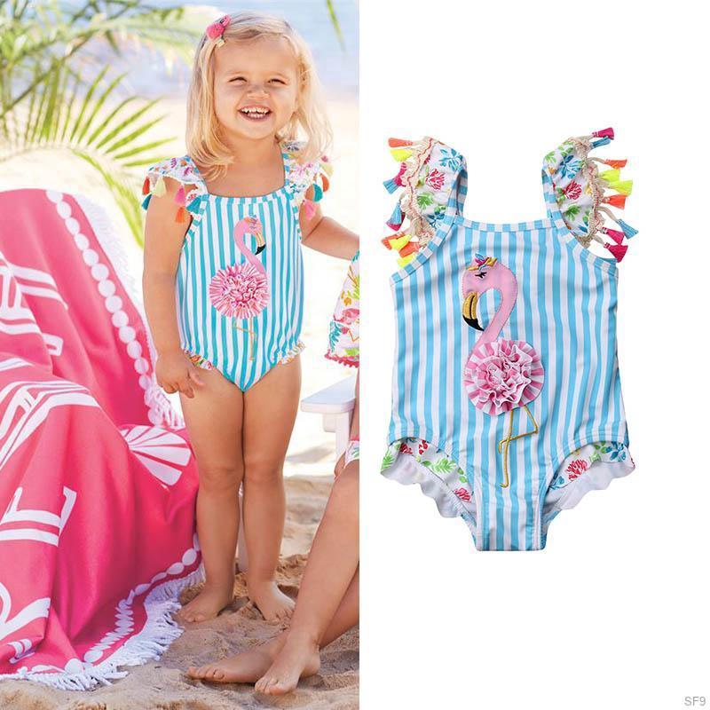 Childrens Cartoon Unicorn HOPS Kids swimsuit Girls Pink Summer bikini