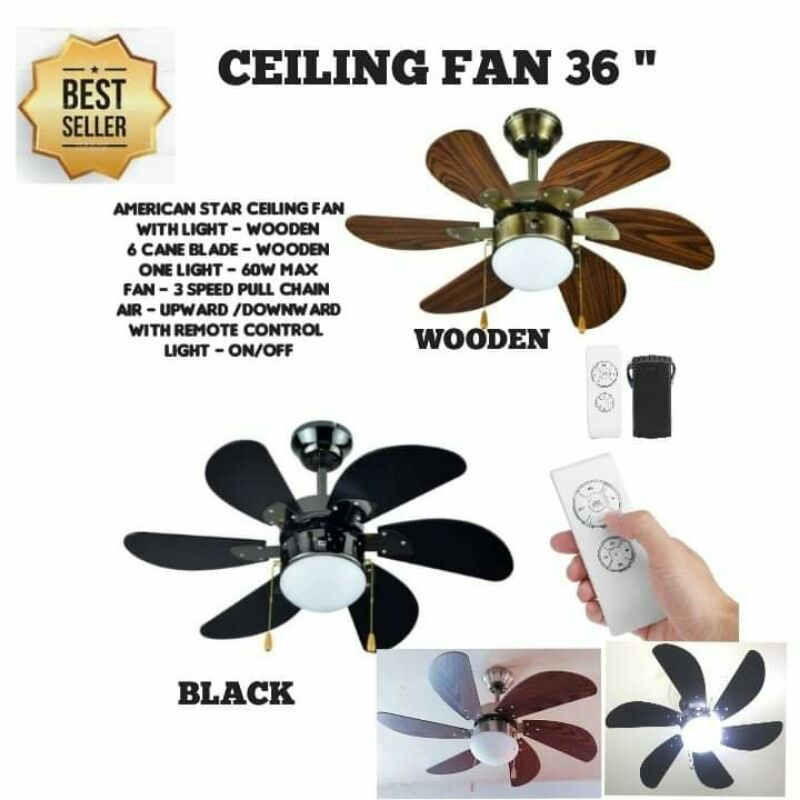 Wooden Black Available With Remote Without Remote High Effeciency Motor Shopee Philippines