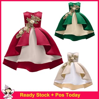 Christmas Evening Party.Kids Dresses For Girls Elegant Princess Christmas Evening Party Dress Flower Girl Wedding Gown