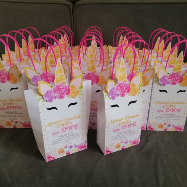Unicorn Themed Loot Bag Personalized