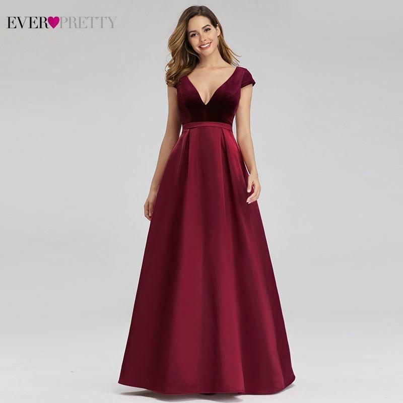 Ever Pretty Sexy Burgundy Evening Dresses A-Line V-Neck ...