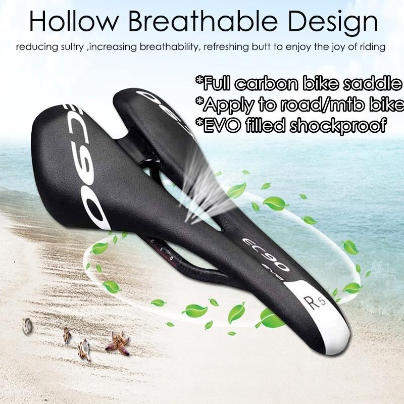 Hollow Black Mountain Road Bike Saddle Breathable T800 Carbon Firber Seat Saddle