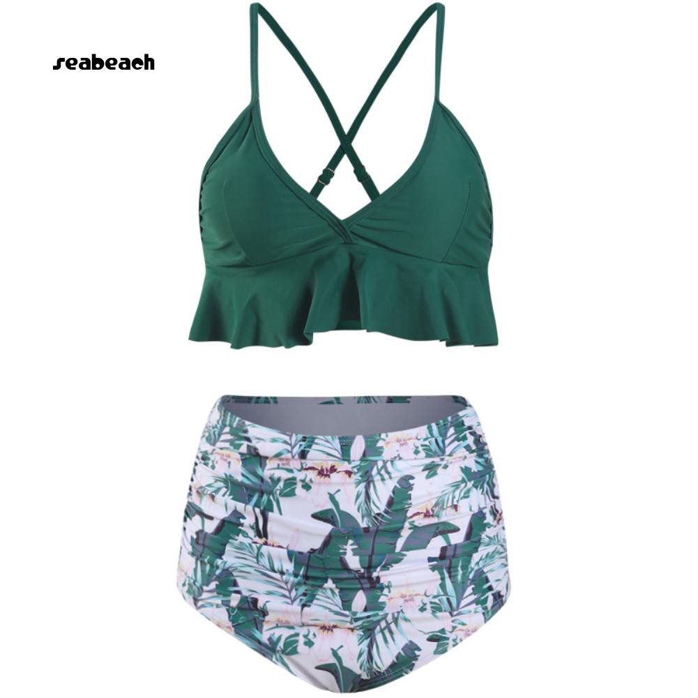 5741e6a0e3f1d Ruffled Bra Flower Leaves Print High Waist Women Bikini Set Two-piece  Swimsuit