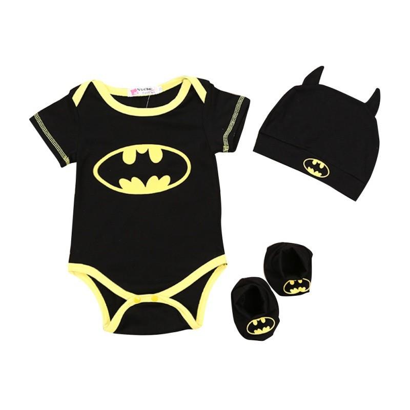 a1ccdf4ac Baby Batman Short Sleeve Romper Bodysuit+Shoes+Hat Clothes   Shopee  Philippines