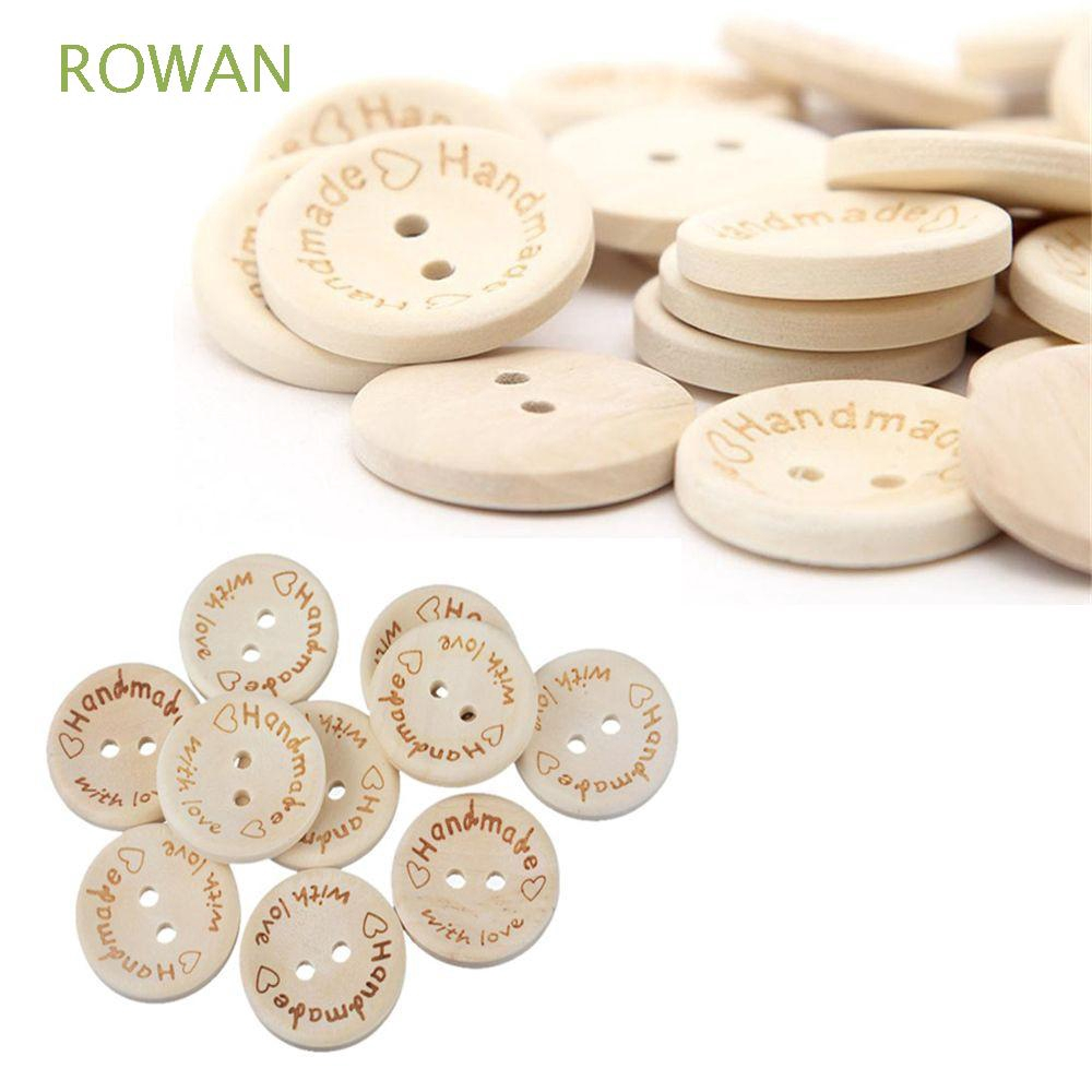 100pcs with Love Handmade Letter Round Wood Button 2 Holes Sewing Craft 20mm