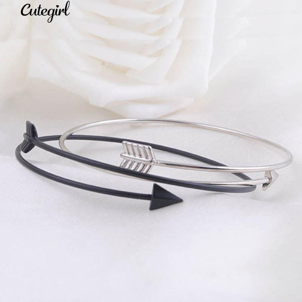 COD!!💋Women Super Simple Thin Fashion Gothic Punk Love Arrow Open Bangle  Bracelet