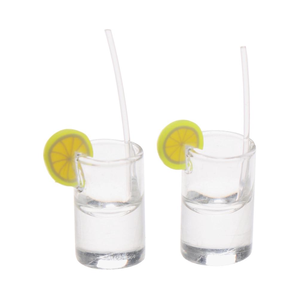 10 Dollhouse Miniature Kitchen Clear Lemon Water Cup Food Drink Resin Bar Decor