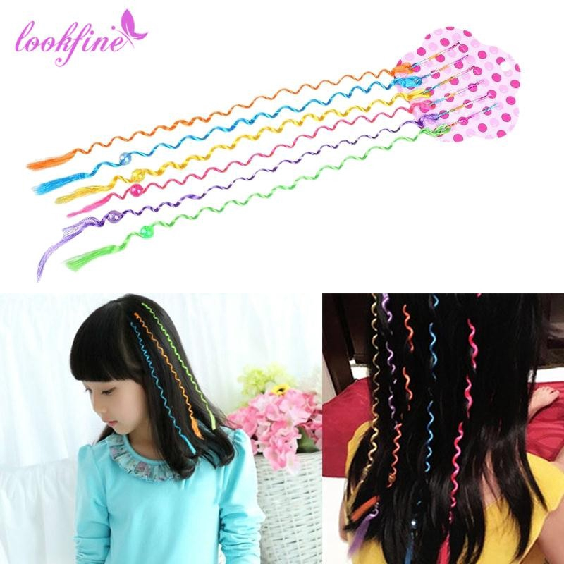 6 Pcs//Set Kids Curler Hair Braid Hair Sticker Baby Girls/' Decor Hair Wear