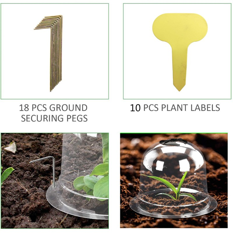 cdhgsh 6 Packs 8 Inches Garden Greenhouse Bell Cloche Dome Plant Bell Protector Cover Greenhouse Bell 2#