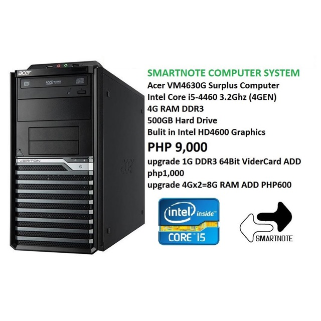 Acer core i5 4GEN computer 4G ram 500g hdd surplus used
