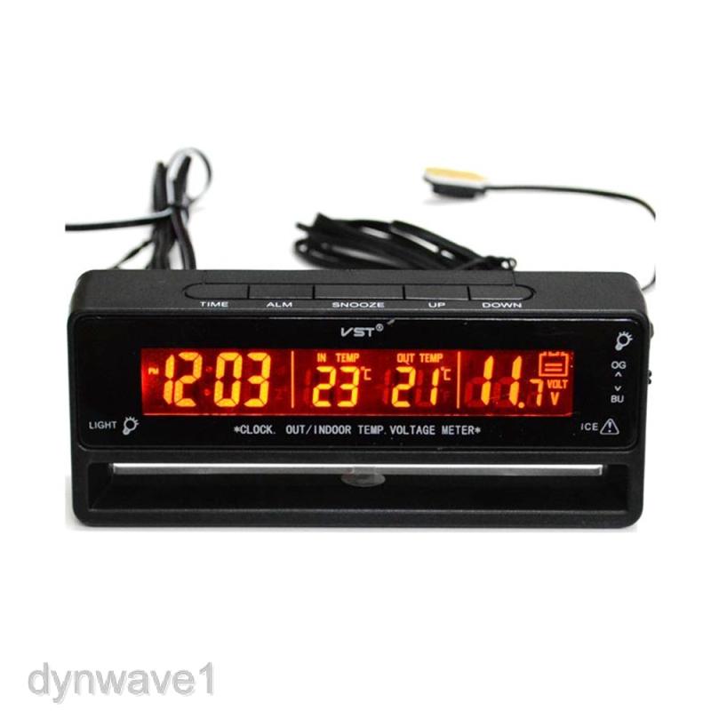 In//Out Digital LCD Auto Car Temperature Thermometer Clock Voltage MeterMonitorVU
