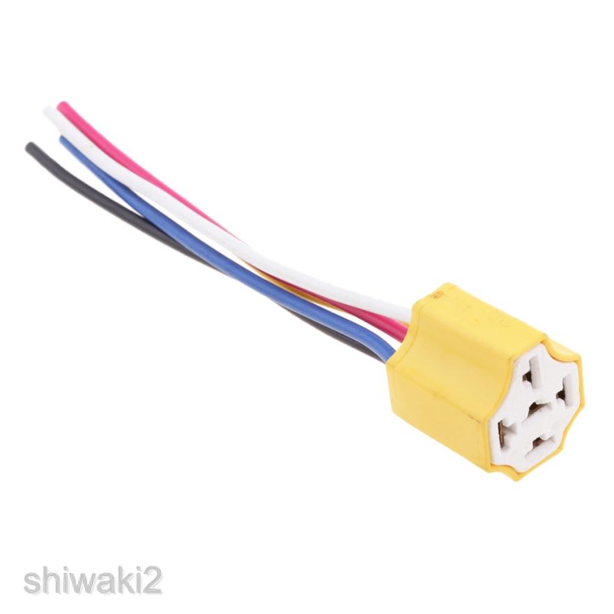 R 2 x H4 9003 Ceramic Wire Wiring Headlight Harness Sockets for Car Headlight SODIAL