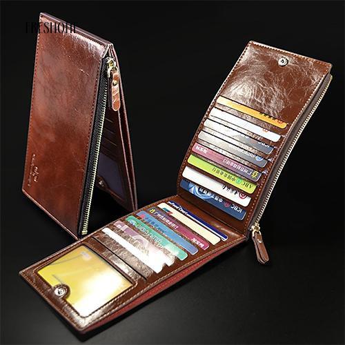 Freshone Mens Multislot Wallet Vertical Money Clip Zipper Bifold Purse Card Holder