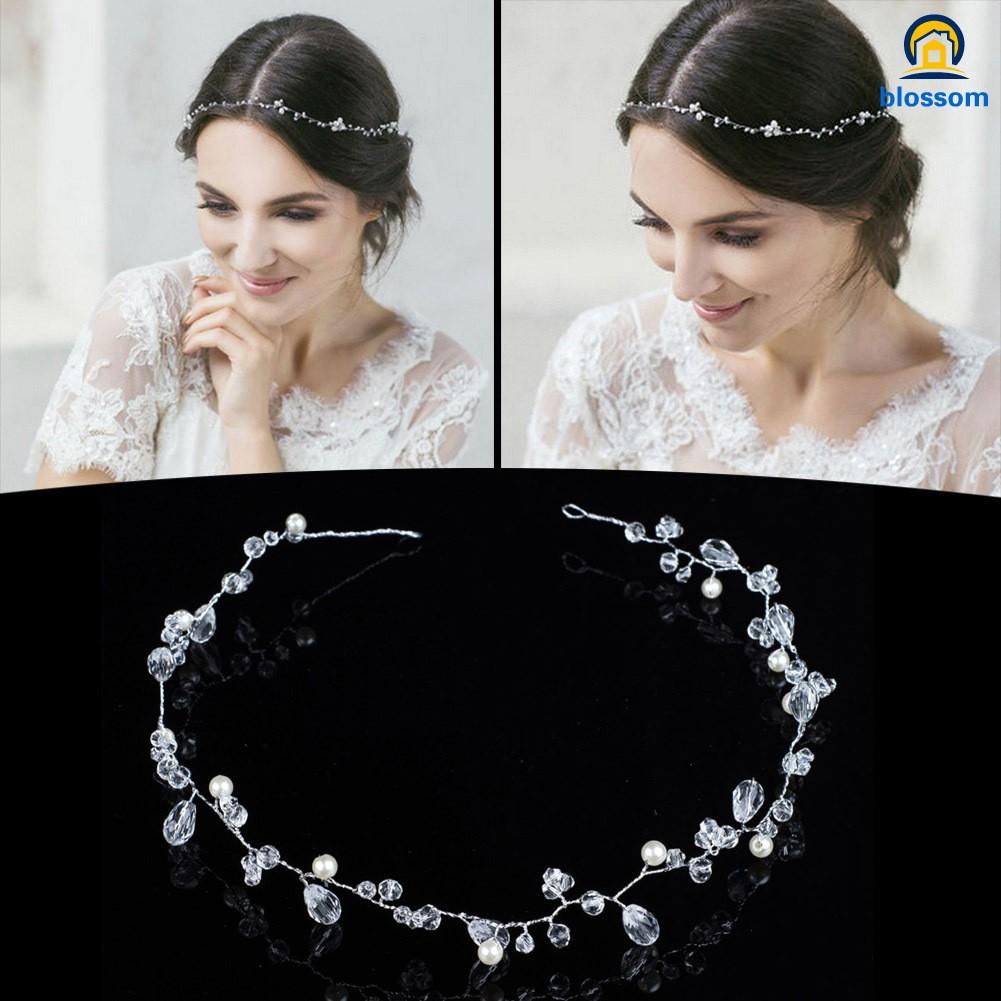 50CM Crystal Pearl Floral Headbands Headpieces Chain Bridal Wedding Hair Jewelry
