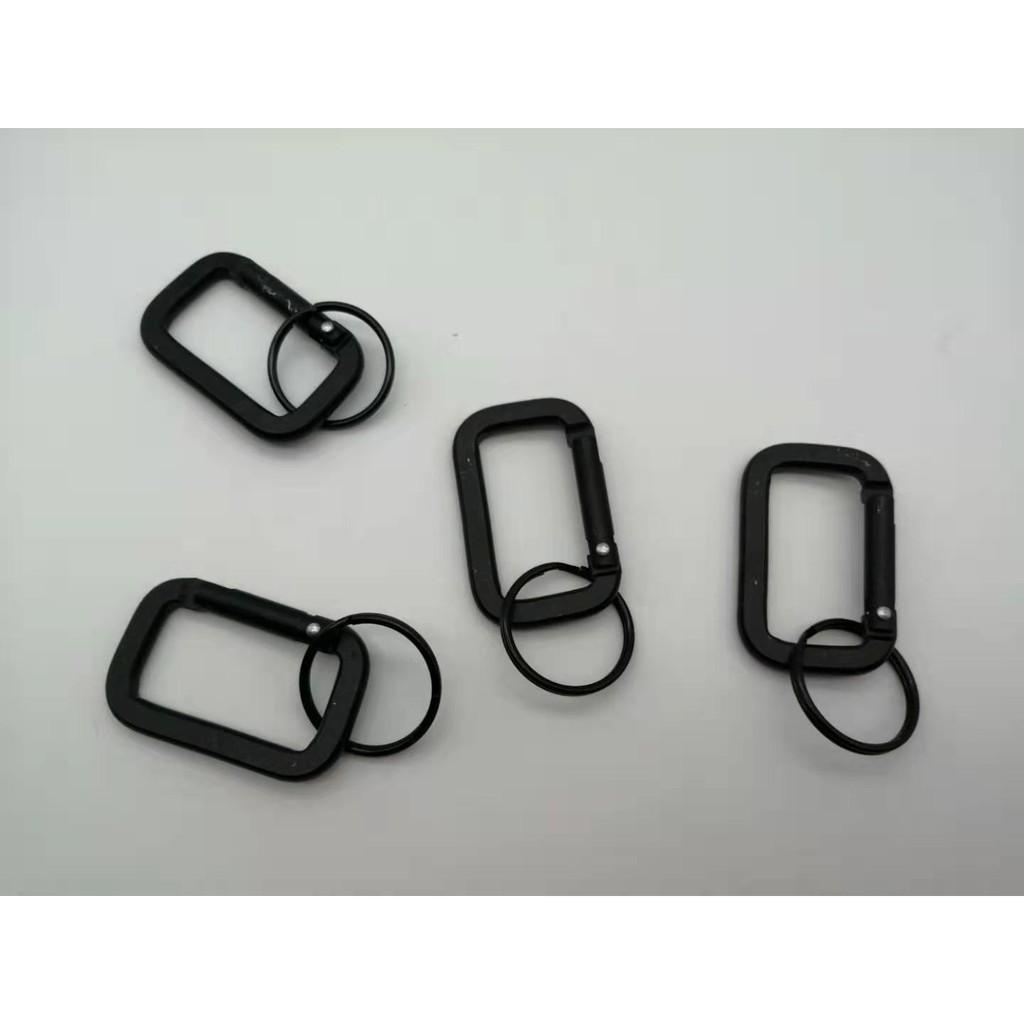10pcs Black Aluminum Alloy D Carabiner Spring Snap Clip Hooks Keychain Climbing