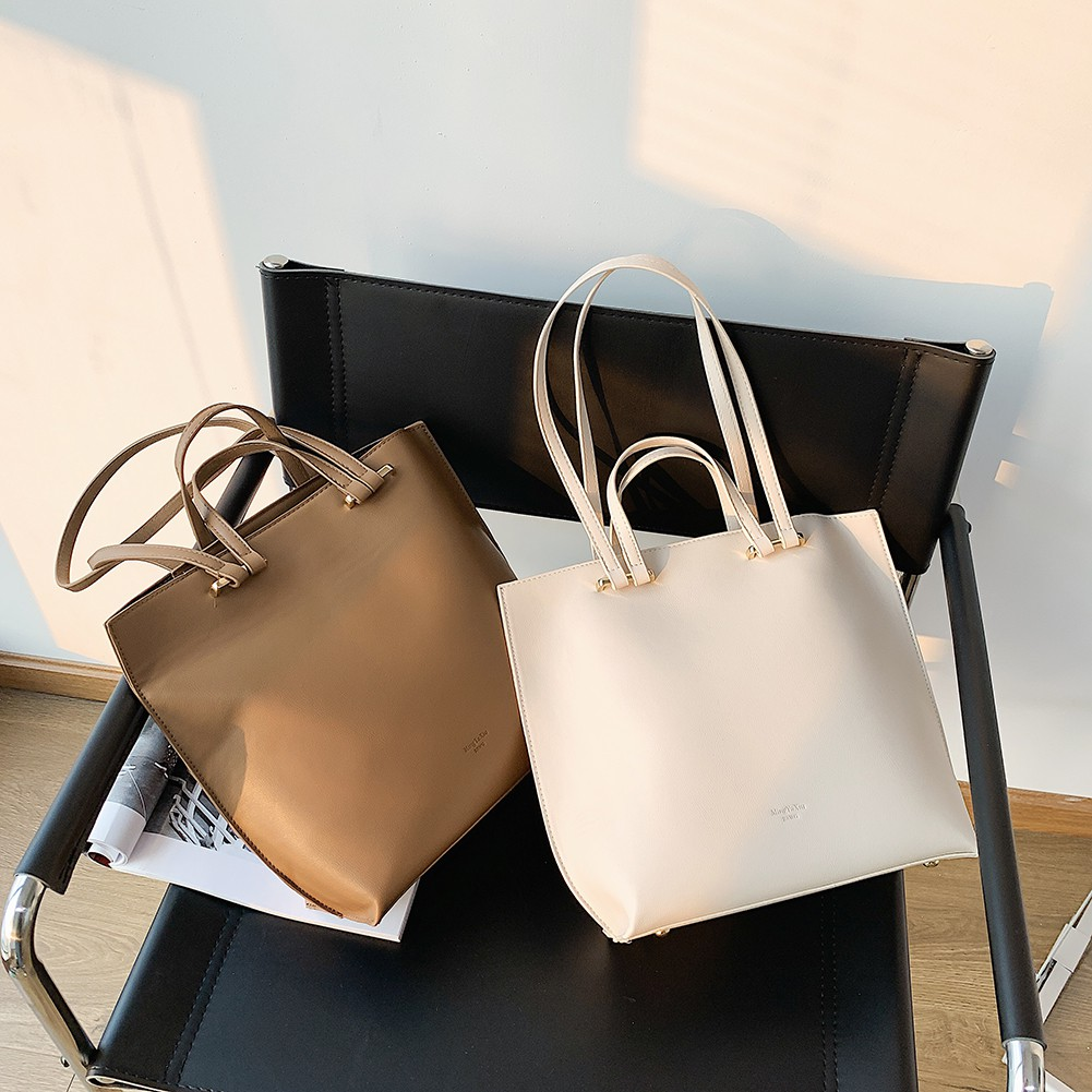 Women PU Leather Totes Handbags Solid Female Travel Shopping Shoulder Bags #HE