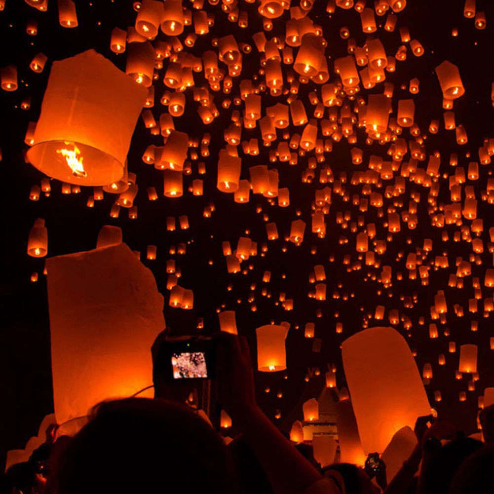 50Pcs Mix Color Paper Chinese Lanterns Sky Fly Candle Lamp for Wish Wedding