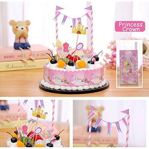 Awesome Fairy Princess Castle Birthday Cake Banner Cake Toppers Kit Funny Birthday Cards Online Elaedamsfinfo