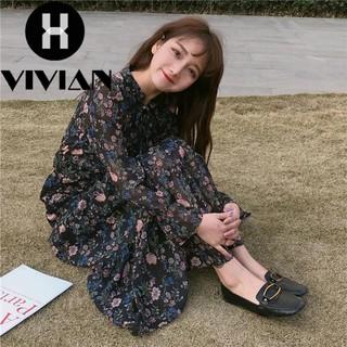 a2aeaaeb0a70 【VIVIAN】Ready stock Korean Fashion Women Lace Spring and summer small fresh retro  dress floral dress | Shopee Philippines