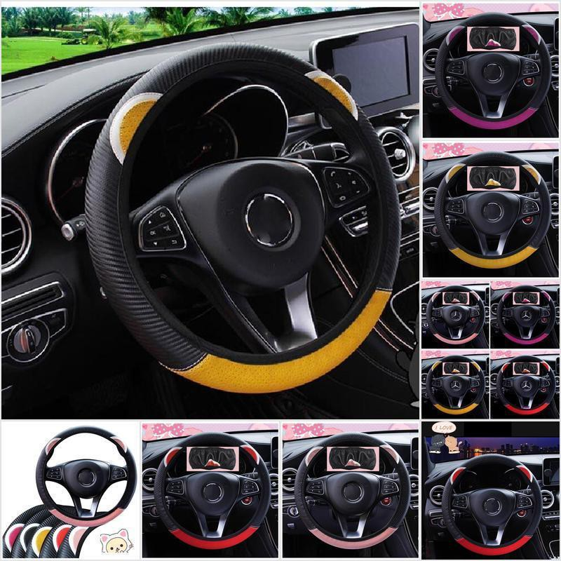 Yu He 3Pcs Winter Steering Wheel Cat Ears Car Handbrake Gear Shift Cover Set