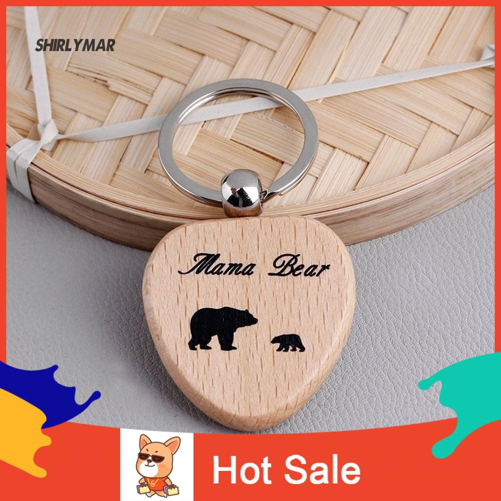 Cute MAMA Bear Gift Mom /& Baby Wooden Keyring Carved Heart Shaped Keychain Charm