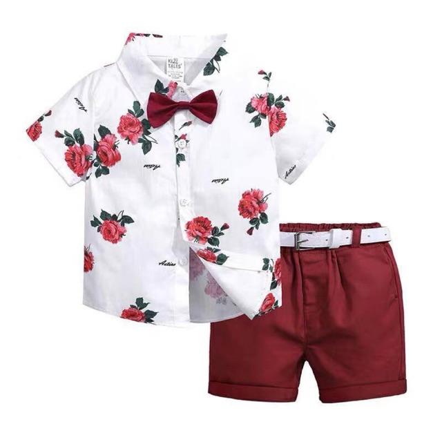 Baby Corp Boys Clothes 2 Piece Set Gentlemen Suit Shorts Polo Flower Tie