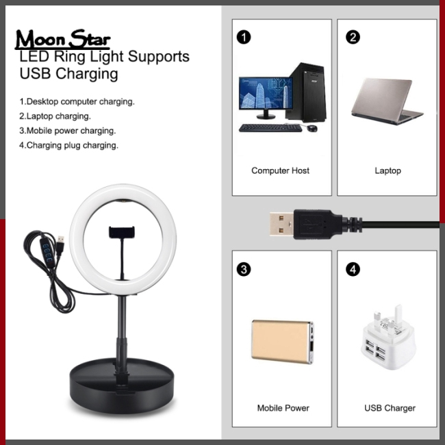 Benlet Portable USB Charge LED Camera Phone Photography Selfie Ring Light On-Camera Video Lights