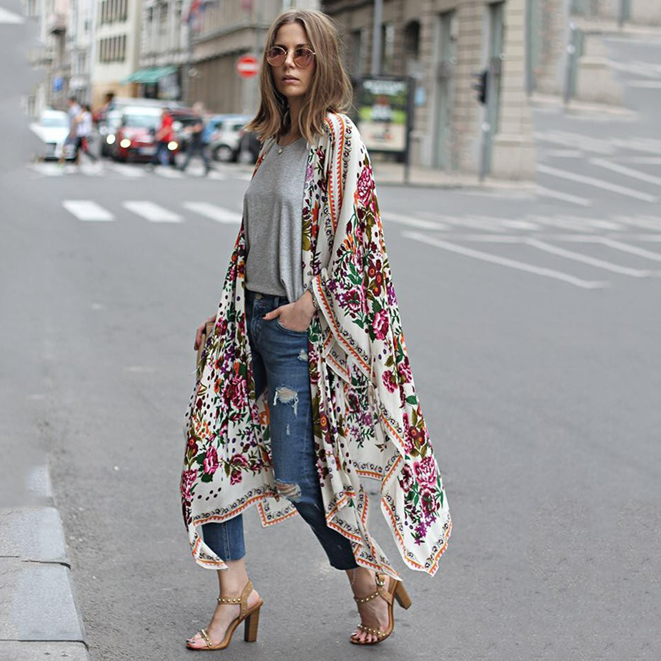Summer Style Women Casual Loose Long Kimono Batwing Sleeve Clothing OuterwearYF