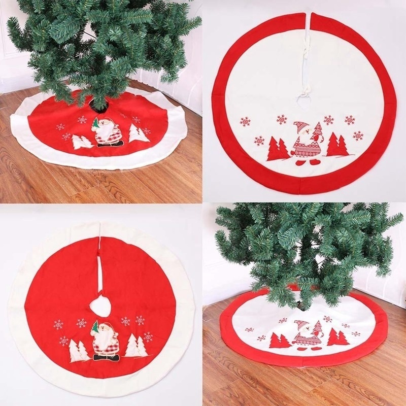 Christmas Tree Skirt White And Red Christmas Tree Skirt Christmas Ornaments Party Decoration Shopee Philippines