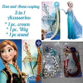 1ae774fb9 Elsa or Anna Frozen Wand, Crown Headband and Wig Hair | Shopee Philippines