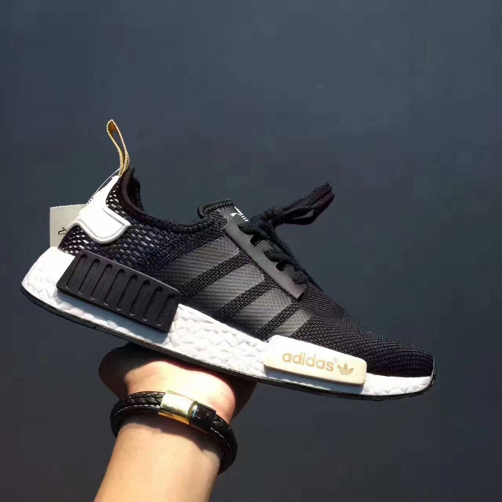12aef80275398 2017 new adidas clover NMD R1 new black gold BA7751 casual s ...