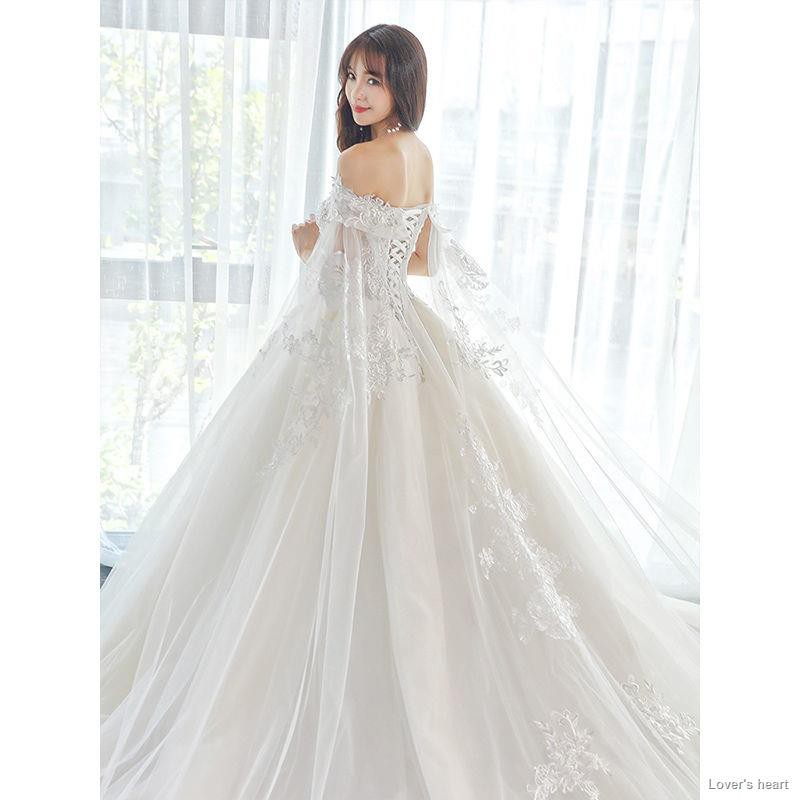 Light Shoulder Wedding Dress 2020 New Words Of French Trill Bridal Gowns Princess Star Little Tail Is Female Shopee Philippines,Long Sleeve Non White Wedding Dresses