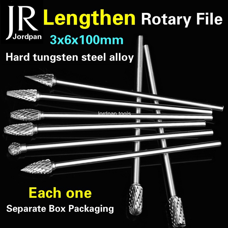 3*95mm Tungsten Steel Solid Carbide Rotary Files Milling Cutter Carving Tools