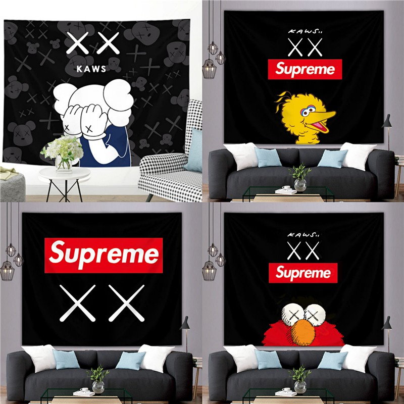 Diy Bedroom Background Wall Decor Tapestry Sesame Street Kaws Supreme Hanging Cloth Shopee Philippines