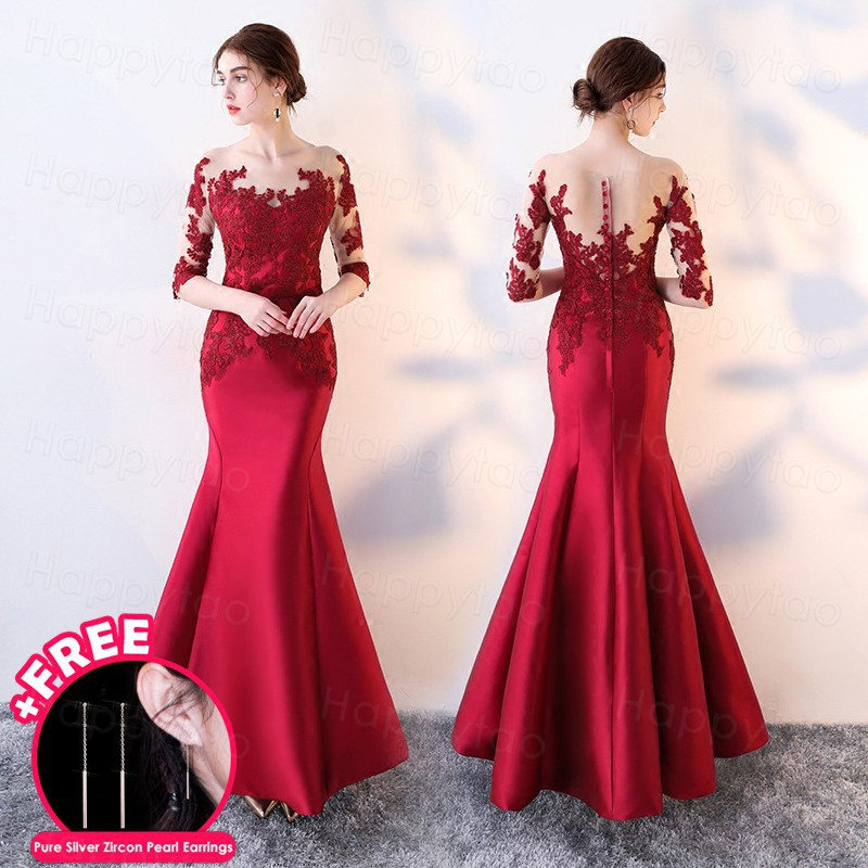 Luxury Formal Red Lace Wedding Gown