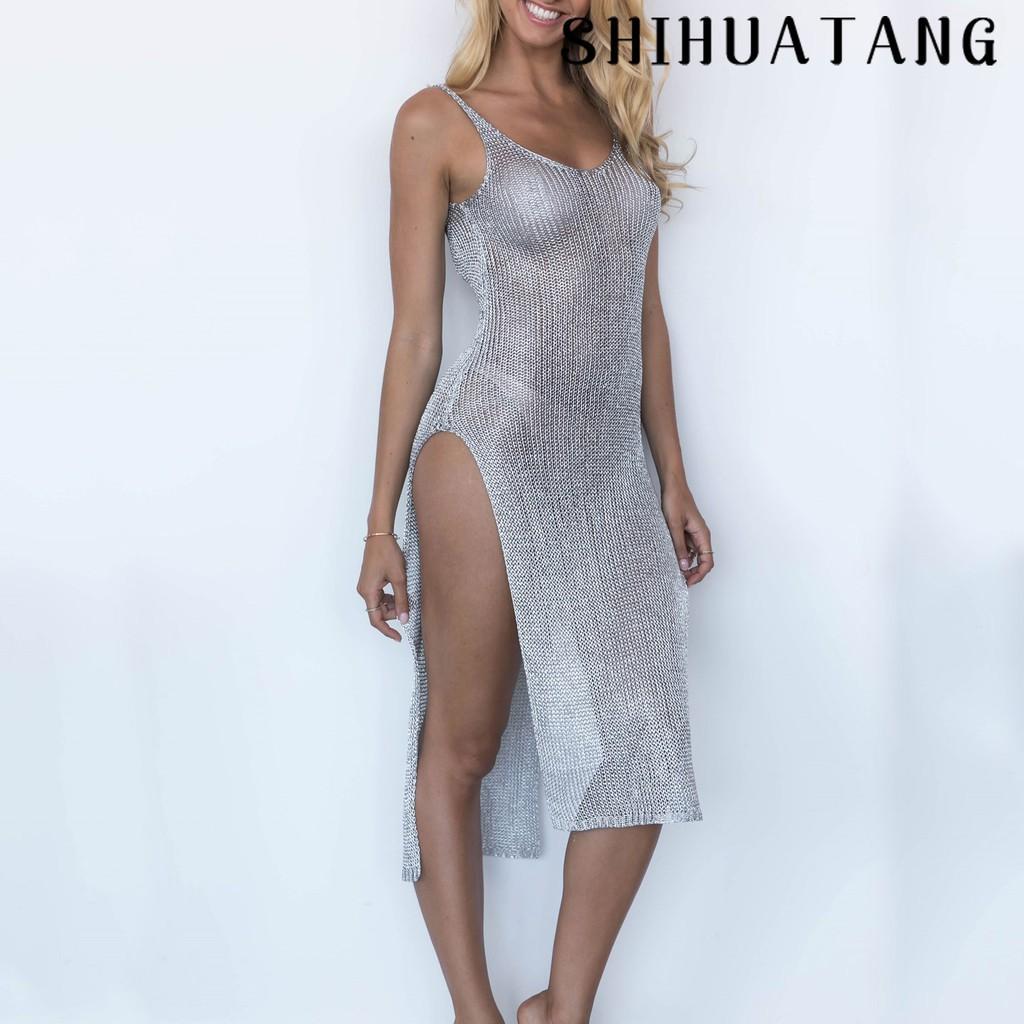 d9fd84d53c Crochet Panel Pom Poms Slit Cover Up Dress | Shopee Philippines